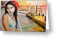 Kuralai Is Waiting. Bangkok Sunset. Greeting Card