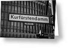 Kurfurstendamm Street Sign Berlin Germany Greeting Card by Joe Fox