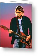 Kurt Cobain In Nirvana Painting Greeting Card