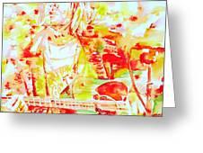 Kurt Cobain Live Concert - Watercolor Portrait Greeting Card