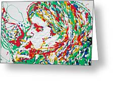 Kurt Cobain Smoking -portrait-enamels On Canvas Greeting Card