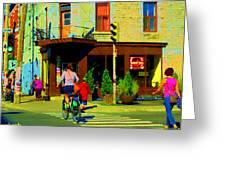 Kusmi Tea And Sandwich Shop St Viateur Corner St Urbain Montreal Summer City Scene  Carole Spandau Greeting Card