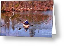 Kyaking On A Lake In Spring Greeting Card