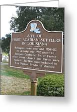 La-029 Site Of First Acadian Settlers In Louisiana Greeting Card