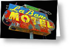 La Bank Motel - Black Greeting Card