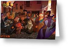 La Calle Greeting Card by Nelson Dedos Garcia