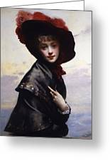 La Coquette Greeting Card by Gustave Jean Jacquet