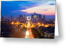 La Defense And Champs Elysees At Sunset In Paris France Greeting Card