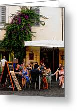 La Dolce Vita At A Cafe In Italy Greeting Card