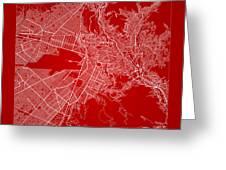 La Paz  Street Map - La Paz Bolivia Road Map Art On Color Greeting Card