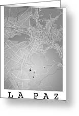 La Paz  Street Map - La Paz Bolivia Road Map Art On Colored Back Greeting Card