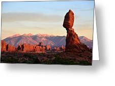 La Sal Mountains From Balanced Rock Greeting Card