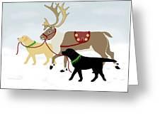 Labrador Dogs Lead Reindeer Greeting Card