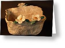 Lace Bowl Sculpture Greeting Card by Debbie Limoli
