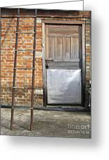 Ladder And Door Greeting Card