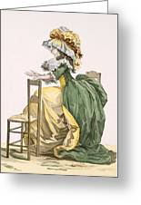 Ladies Elaborate Gown, Engraved Greeting Card