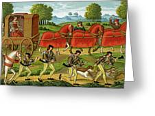 Ladies Hunting, From A Miniature Greeting Card
