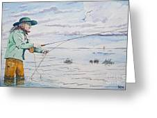Lady Fly Fishing Greeting Card