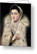 Lady In A Fur Wrap Greeting Card