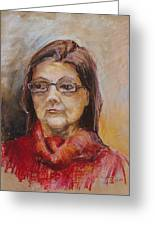 Lady In A Red Pullover Greeting Card