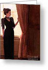 Lady In Black By Window Greeting Card