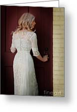 Lady In Edwardian Dress Opening A Door Greeting Card