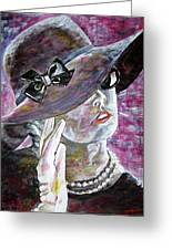 Lady In Gloves Greeting Card by Linda Vaughon
