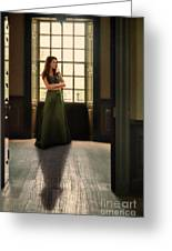 Lady In Green Gown By Window Greeting Card by Jill Battaglia