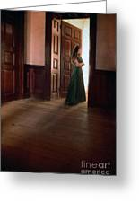 Lady In Green Gown In Doorway Greeting Card