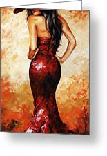 Lady In Red 035 Greeting Card
