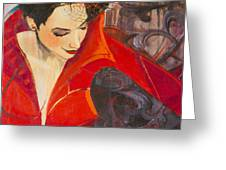 Lady In Red Greeting Card by Jennifer Croom