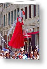 Lady In Red Watching Filming Of Today Show In Old Montreal-qc Greeting Card