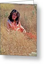 Lady In The Grass - Vert Greeting Card