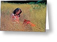 Lady In The Grass -horiz Greeting Card