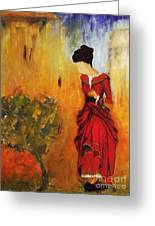 Lady In The Red Dress Greeting Card