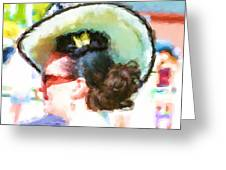 Lady In The White Hat And Trim Greeting Card
