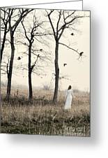 Lady In White In Autumn Landscape Greeting Card