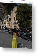 Lady In Yellow By The Church Of San Francesco Maiori Italy Greeting Card
