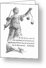 Lady Justice Statue Pencil Portrait Greeting Card
