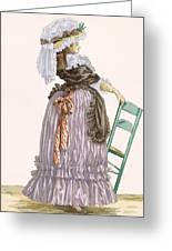 Lady Leaning On Chair, Engraved Greeting Card