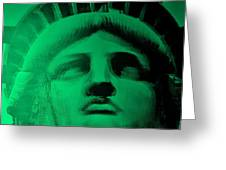 Lady Liberty In Copper Green Greeting Card