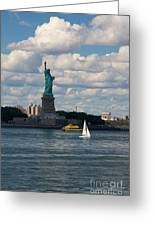 Lady Liberty With Sailboat And Water Taxi Greeting Card