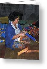 Lady Makes Umbrellas At A Factory Near Chaing Mai Greeting Card