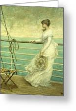 Lady On The Deck Of A Ship  Greeting Card