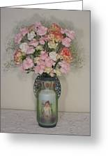 Lady On Vase With Pink Flowers Greeting Card