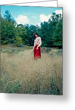 Lady Standing In Grass 2 Greeting Card