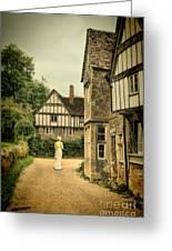 Lady Walking In The Village Greeting Card by Jill Battaglia
