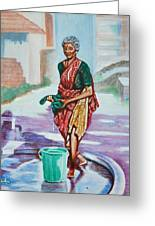 Lady Washing Clothes Greeting Card