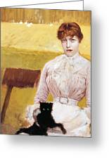 Lady With Black Kitten Greeting Card