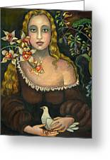Lady With Dove Greeting Card